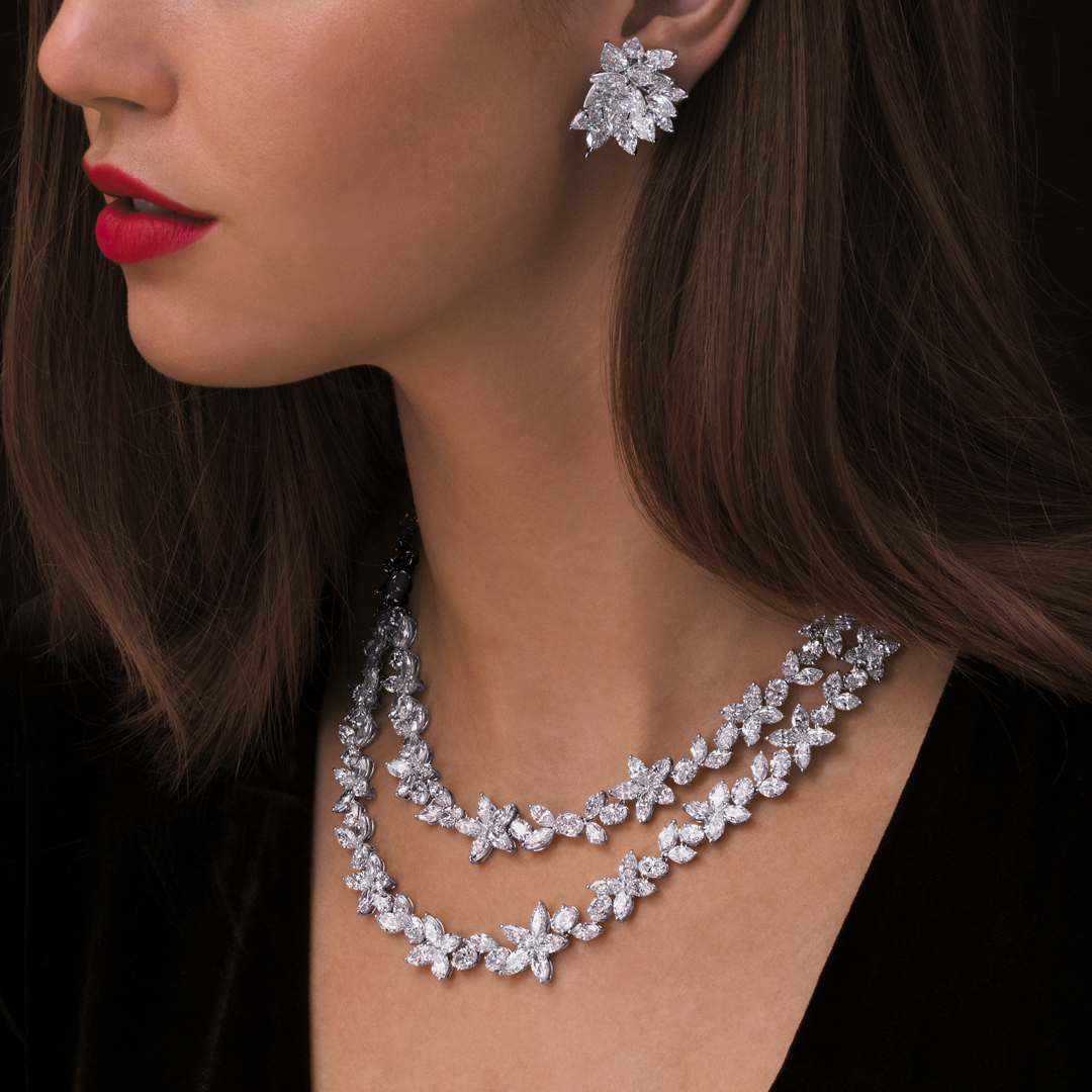 Fancy Shape Florent Necklace and Cluster Diamond Earrings