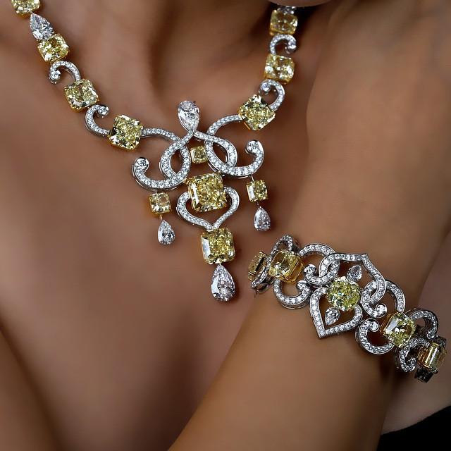 Fancy Yellow Radiant Swirls Necklace and Bracelet