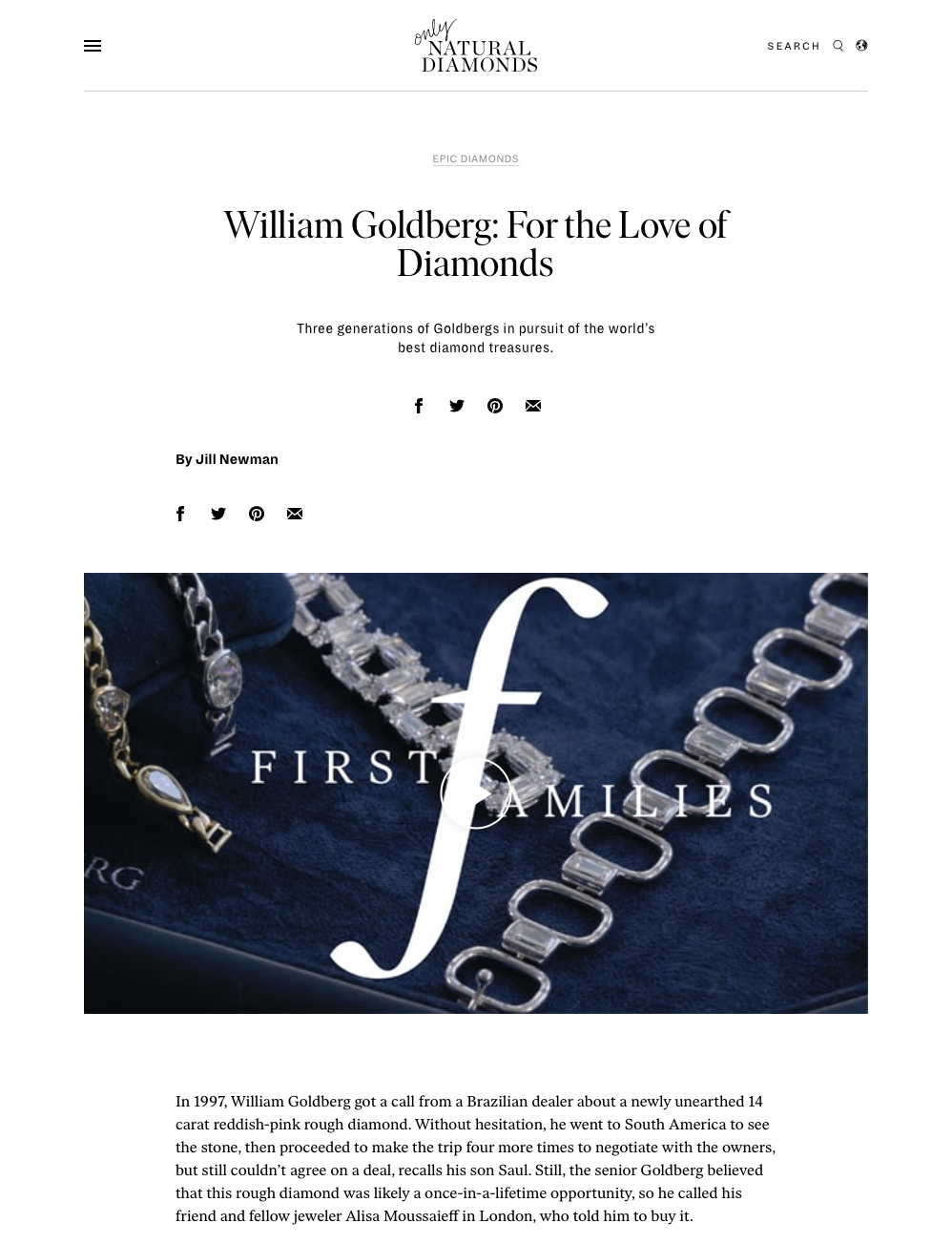 Only Natural Diamonds First Families William Goldberg