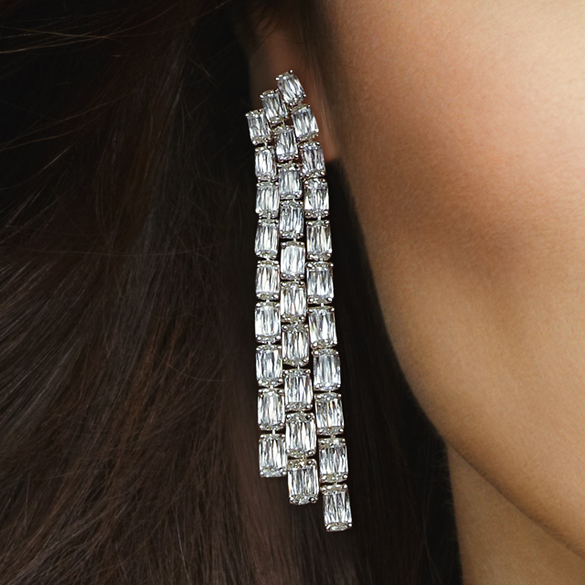 ASHOKA Triple Row Chandelier Earrings